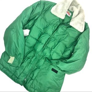 Vintage Vibrant Green Down Filled Puffer Jacket  M